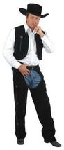 BLACK CHAPS & VEST COWBOY ADULT SMALL 36-38 HALLOWEEN COSTUME - $50.96