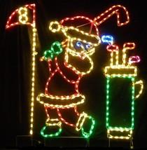 Outdoor Christmas Yard Decor Santa Claus Golfing Steel Wireframe LED Lig... - $474.99