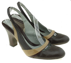 Kenneth Cole Reaction Womens BOCACHINO Heels Size 7.5 M Brown Tan Slingback - $24.70