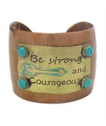 Be Strong and Courageous Cuff Bracelet Hammered Metal Design - $19.79