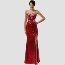 Rita Hayworth Costume Jessica Rabbit Red Dress Long Halloween Star Sequi... - $99.99