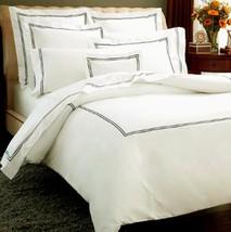 Sferra Grande Hotel King Duvet Ivory/Black Stripes Resort 100% Cotton It... - $104.00