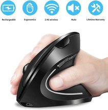 Doomier 2.4G Wireless Ergonomic Vertical Mouse with USB Receiver, 6 Buttons