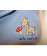 CARTERS JUST ONE YEAR BLUE LITTLE COWBOY FLEECE BABY BLANKET BOY PONY HORSE HAT - $39.59