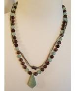 Triple Strand Round Brown Bluish Green Beads with Teardrop Pendant - $28.00