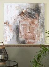 "Buddha Stretched Canvas Zen Wall Oil Print 39.4"" x 39.4"" Brown & Grey - $148.49"