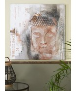 """Buddha Stretched Canvas Zen Wall Oil Print 39.4"""" x 39.4"""" Brown & Grey - $148.49"""