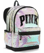 Victoria's Secret Pink Campus Backpack White Gold Bling Sequins - $71.52