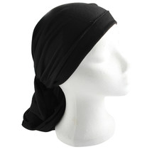 Head Scarf Modest Hair Cover Wrap Black Fabric Judaica Women Tichel