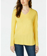 Maison Jules Dropped Shoulder V-Neck Jersey Top, TUSCON GOLD YELLOW - $9.99
