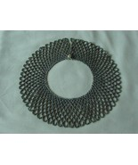 VINTAGE BEADED DOLL? NECK PIECE COLLAR NECKLACE W/FAUX PEARL FASTENER - $45.00