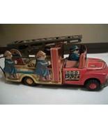 ANTIQUE JAPAN FRICTION TIN FIRE TRUCK COMPLETE 5 MEN WITH LADDER RUNS GR... - $84.15