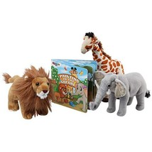Safari Animals Plush And Book Set - Stuffed Animals of 3 Savanna Animals... - $43.53