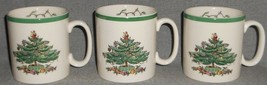 "Set (3) Spode CHRISTMAS TREE PATTERN Green Trim 3 1/4"" 9 oz HANDLED MUGS... - $39.59"