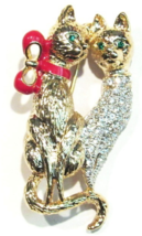 Cat Pin Brooch Clear Crystal Two Kitties Attached Gold Tone Metal - $16.99