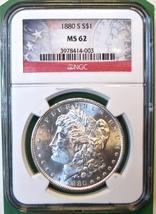 1880-S NGC Morgan Silver Dollar. MS62. MG3. - $61.00
