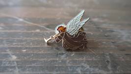 "VIntage Enamel Angel Trumpet Lapel Pin 1"" - $11.09"