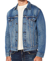 Levi's Men's Unibasic Icon Trucker Denim Red Stripe Jean Jacket image 3