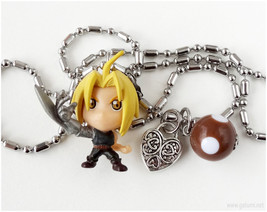 FMA Ed Charm Necklace, Stainless Steel Chain, Anime Figure, Kawaii Jewelry - $18.00