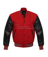 Varsity Letterman Jacket Red Wool With Black  Real Leather Sleeves - $66.99