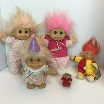 Vintage Trolls Lot of 5 Dam Russ Ace 1985 1991 Hard Plush Clown Birthday... - $25.08