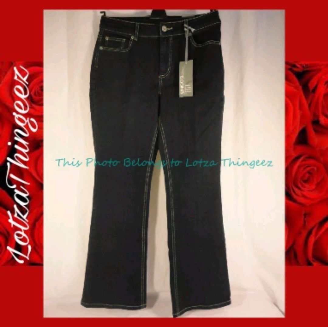 Chico's Sz 1 (10) Dark Wash Jeans Platinum Charm Twilight New