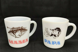 Mom Dad Hazel Atlas Milk Glass Coffee Mugs Cups Papa Mustache & Mama W/ ... - $15.47