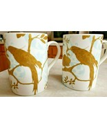 Blue Bird By Portmeirion Studio Two Mugs Blue and Gold - $23.38