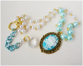 Rose Cameo Necklace, White and Teal Beaded Pearl Chain in Gold - Sweet Lolita image 5