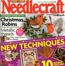 Needlecraft Issue 94 Christmas 1998 Cross Stitch Robins Patchwork Needlepoint - $7.95