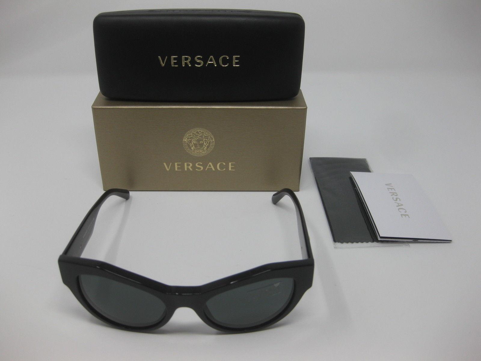 ffdc2bd2978b 57. 57. Previous. Versace 4253 GB1/87 53 19 140 Cat Eye Women's Black Frame Grey  Lens Sunglasses