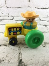 Fisher Price Little People Chunky Farmer On Tractor Yellow Green - $11.88