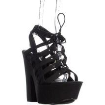 Steve Madden Gagga Platform Lace Up Sandals, Black, 9.5 US - $38.39