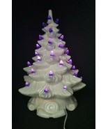 Vtg 1973 White Atlantic Mold Scroll Base Ceramic Christmas Tree Blue Lig... - $240.57