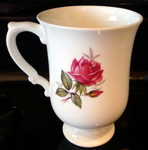 Crown Staffordshire Pink Roses Pedestal Coffee Mug England Bone China - $21.73