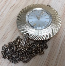Vintage Timex Lady Aluminum Hand-winding Necklace Pendant Pocket Watch H... - $20.89