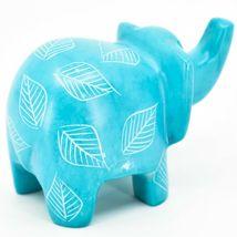 Vaneal Group Hand Crafted Carved Soapstone Sky Blue Elephant Figurine Made Kenya image 4