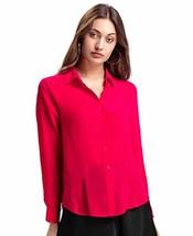 Benares Women's Button Down Shirt - Long Sleeve Viscose Shirt, Fuchsia, X-Small