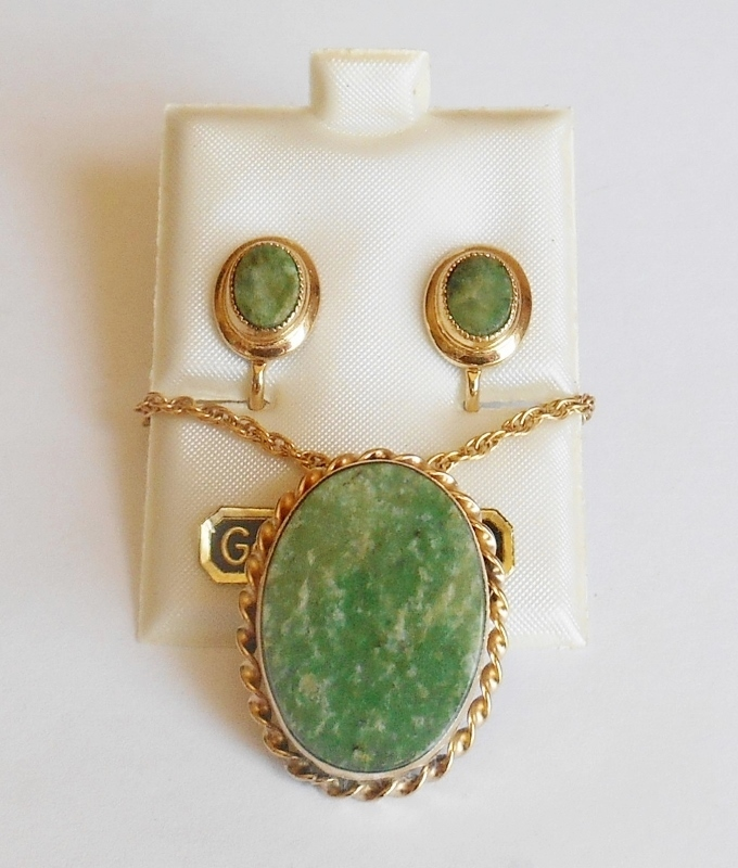 12K Gold Filled Jade Pendant Brooch Combo with Chain Necklace & Earrings