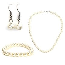 UNITED ELEGANCE Classic Faux Pearl Set With Necklace, Drop Earrings & Bracelet - $16.99