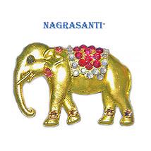 Nagrasanti GT Elephant/Crystal Red Blanket Brooch - $29.00