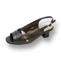 PEERAGE Karen Women Wide Width Leather Open-Toe Pleated ToeCap Slingback Sandals - $49.45
