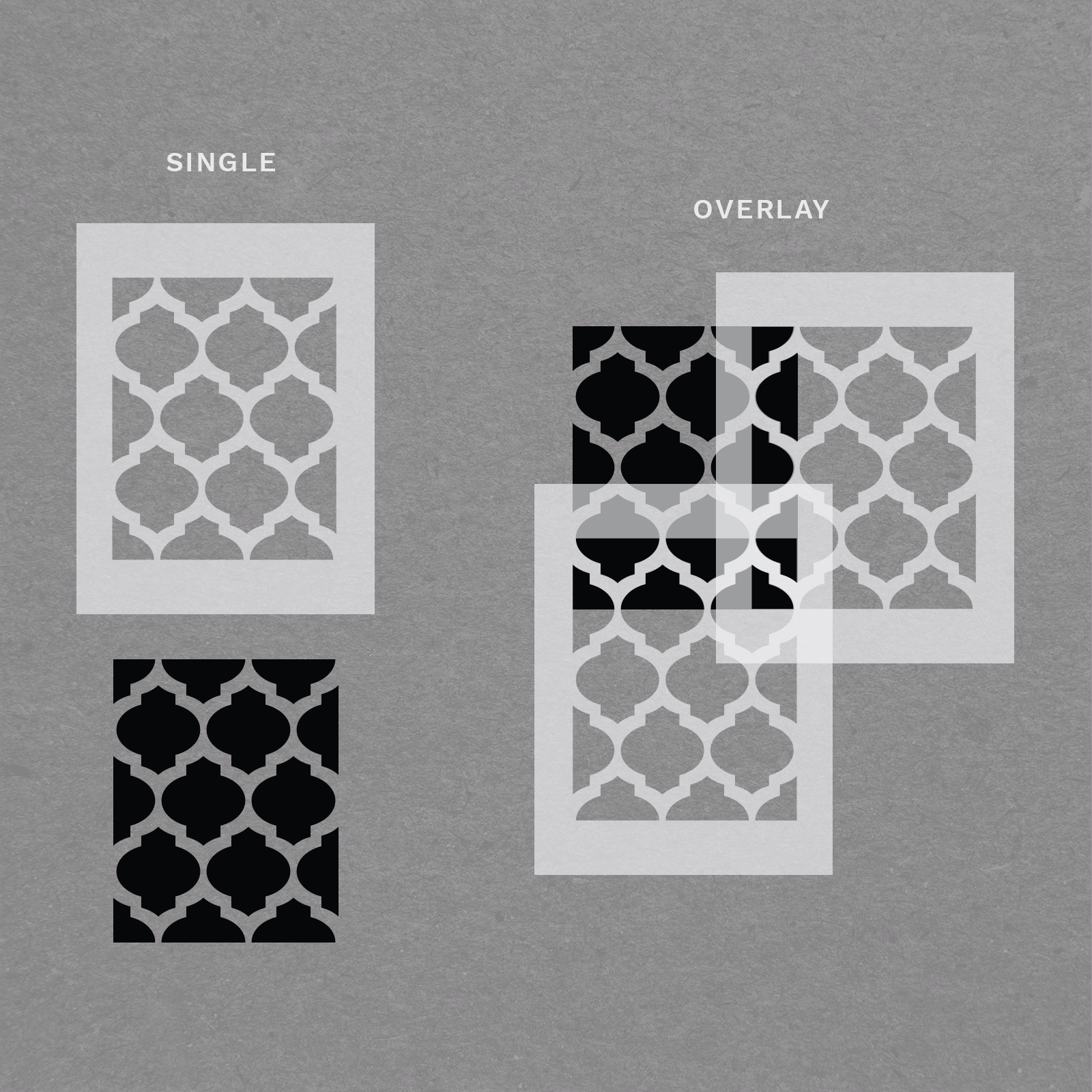 """Moroccan Fill Stencil - Reusable Wall Stencils for Home Decor - 34"""" x 21"""" Size"""