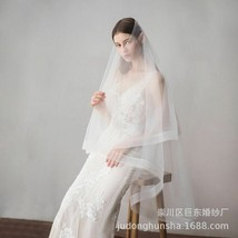 White Ivory Wedding Veil Two-Layer Tulle Mesh Elbow Length Bridal With C... - $30.68