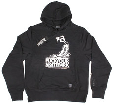 Dissizit Mens Black White FYSP F ck Your Skate Park Pullover Hoodie Sweater NWT