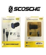 Scosche Dual Port USB Car Chargers with Micro USB Cable Mini USB Adapter... - $12.59