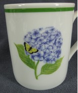 American Atelier Hydrangea 3376 Porcelain Coffee Mug 11oz Yellow Butterfly - $14.95