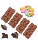 4pcs Leaf leaves Silicone FALL Thanksgiving Chocolate Candy Soap Meed Mo... - £15.26 GBP