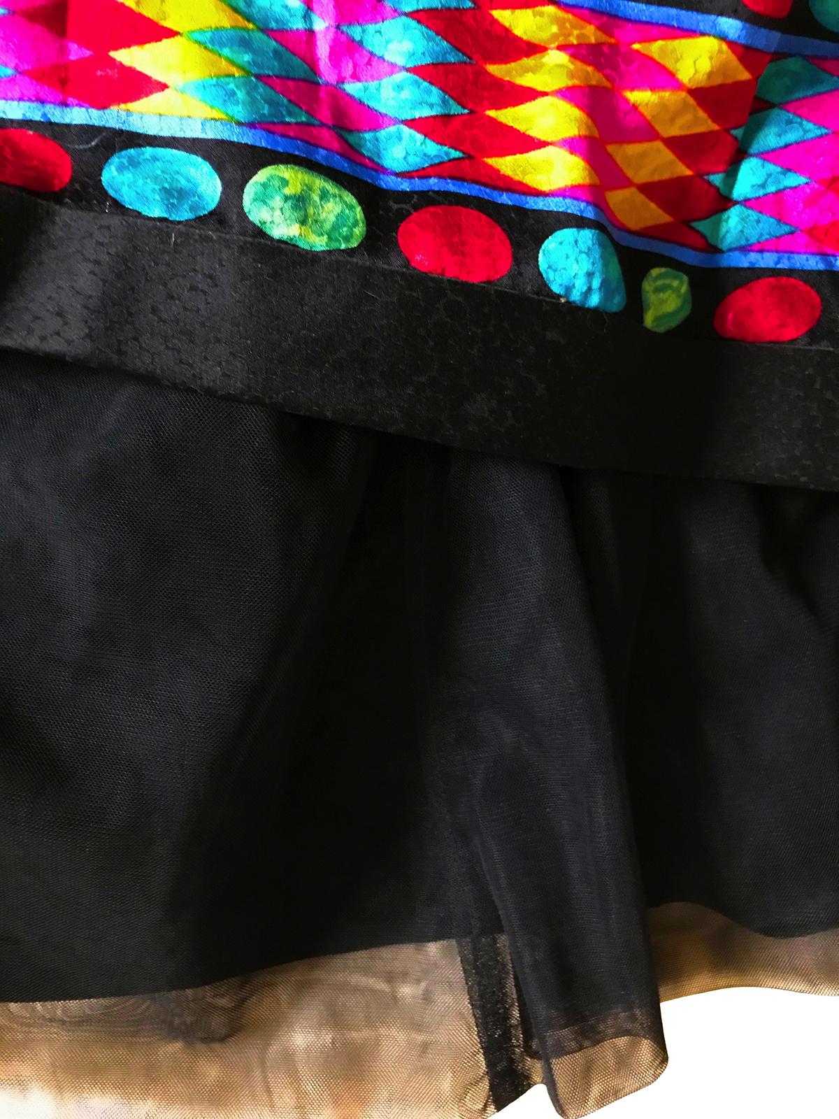 80s Vtg A.J. Bari 100% Silk Boned Corset Strapless Aztec Geometric Print Dress