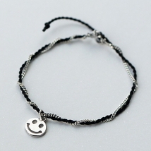 Lovely smile face 925 sterling silver rope twis... - $39.68
